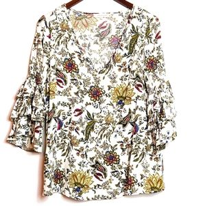 Solitaire RUFFLE Sleeve Floral Blouse